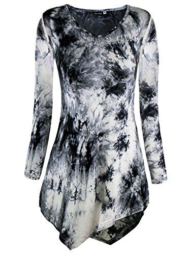 KorMei - Camiseta de manga larga - Túnica - Efecto teñido - Manga Larga - para mujer Grey#2