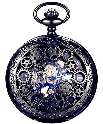 New Brand Mall Steampunk Blue Hands Scale Mechanical Skeleton Pocket Watch from New Brand Mall