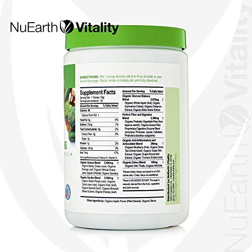 VITAL GREENS - Organic Superfood Powder Detox Formula - Best Tasting Blend of Plants, Fruits & Vegetables - All Natural Supplement with Probiotics & ...