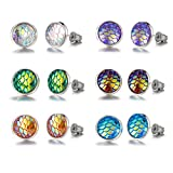 Bevan Fairy tale Mermaid Scales Earrings for kids Girls Women Hypoallergenic Nickel-free stud earrings set,