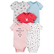Carter's Baby Girls 5 Pack Bodysuit Set, Animals, 3 Months