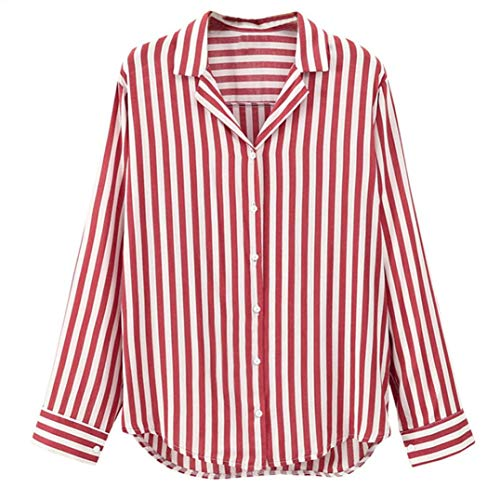 Sunhusing Women Ladies Striped Long Sleeve Button Work Office Blouse Top Tee Shirt -