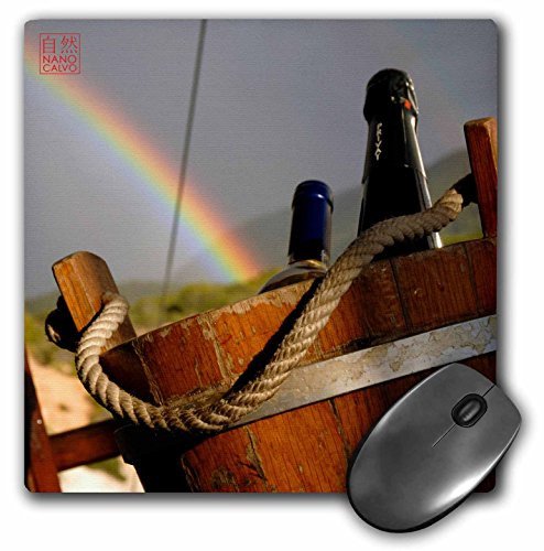 3dRose 8 X 8 X 0.25 Wine Bottles In Wood Basket With Rainbow Behind Ibiza Spain Mouse Pad (mp_107349_1)