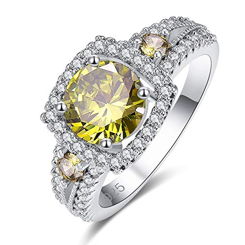 Mavonne 925 Sterling Silver Created Peridot Filled Round Cut Cocktail Halo Engagement Ring for Women 0199R7-9 (Color : Peridot Green, Size : 7)