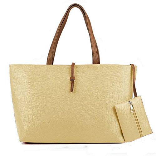 Vincenza Designer Large Womens Faux Leather Style Summer Tote Shoulder Bag IN Bag Handbag BEIGE