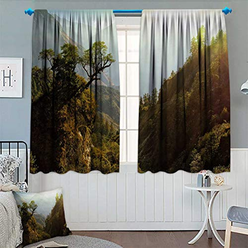 Chaneyhouse Landscape Blackout Window Curtain Forest Nepal Himalaya Mountains Sunlight Majestic Scenery Nature Photo Customized Curtains 72