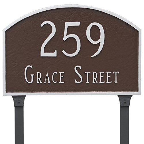 Montague Metal 13'' x 21'' Prestige Arch Two Line Address Sign Plaque with Lawn Stakes, Large, Antique Copper by Montague Metal