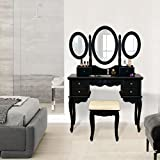 Vanity Makeup Table Set 3 Folding Mirror Dressing Table with Padded Stool & 6 Drawers, Black