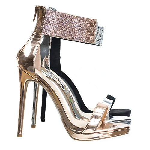 High Heel Rhinestone Encrusted Ankle Strap, Women's Party Sandal