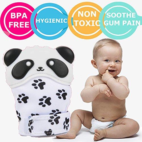 Panda Teething Mitten  Newborn Baby Sensory Teether Toy Bpa Free With Velcro  Top Pacifier For Infant Babies 3  Months Boy Girl   Pain Relief Sucking Chew Glove  1 Mitt   Tm Feet