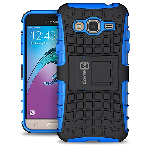 Samsung Galaxy Express Prime Case, Galaxy Sky Case, Galaxy Amp Prime Case, CoverON [Atomic Series] Hybrid Armor Cover Tough Hard Kickstand Phone Case for Samsung Galaxy Express Prime - Blue
