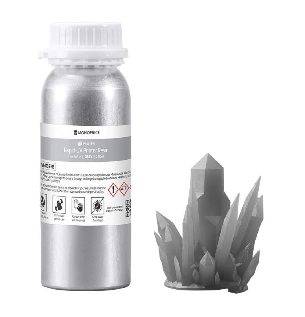 Monoprice Rapid UV 3D Resina de impresora - 250 ml - Gris ...
