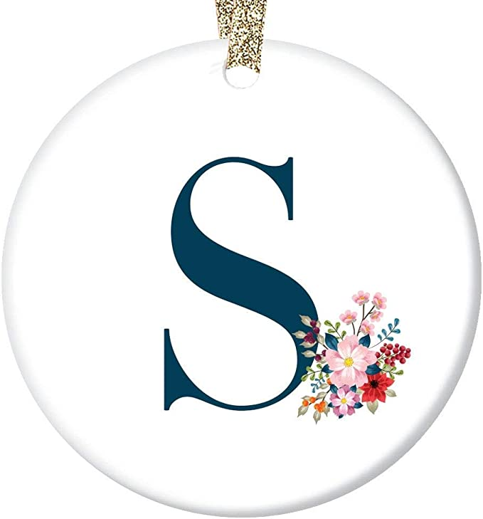 """Letter S Monogram Girls Name Christmas Ornament First Last Name S"""" Initial Holiday Present to Daughter Mom Lady Teacher Coworker Neighbor 3 inches Flat Ceramic Keepsake"""