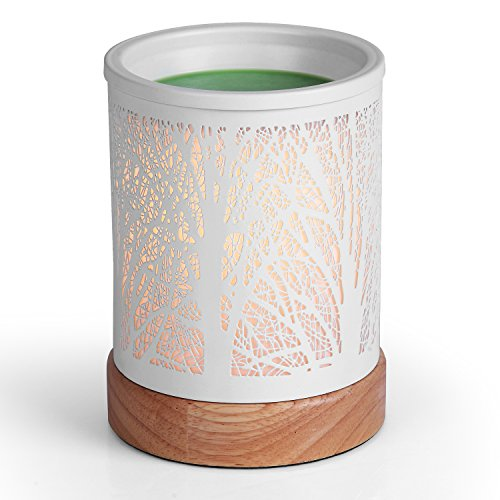 (Foromans Classic Oil Wax Melts Warmer White Metal Cover Forest Design and Soild Wood Base Fragrance Candle Warmer Lamp for Home Décor)