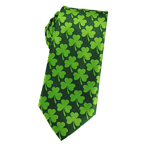 KOOELLE Mens Fashion Tie Shamrock Clover Jacquard Woven Neckties for Formal Carnival