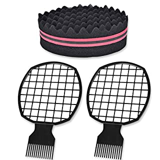 TBoxBo 2Pcs Afro Twist Comb 1Pcs Hair Sponge Brush Twist Hair Comb Afro Pick Hair Curl Sponge Brush for Men, Barber and Personal Use