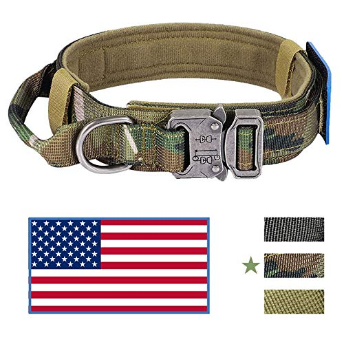 KUSSONLI Dog Collar for Medium Large Dogs,Soft Comfortable Adjustable Collars Sizes,Double-Layer Thick Military Specification Nylon Zinc Alloy Metal Safety Locking Buckle,American Flag,Camo,M