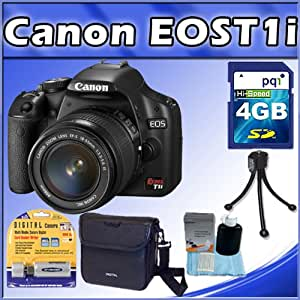 Canon EOS Rebel T1i 15.1 MP CMOS Digital SLR Camera with 3-Inch LCD and EF-S 18-55mm f/3.5-5.6 IS Lens + 4GB SD Card + Camera Bag(M) + Table Tripod + 3 pieces Cleaning Kit + SD Card Reader