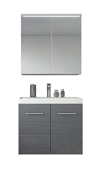 Badezimmer Badmobel Toledo 02 60 Cm Waschbecken Hochglanz Grau