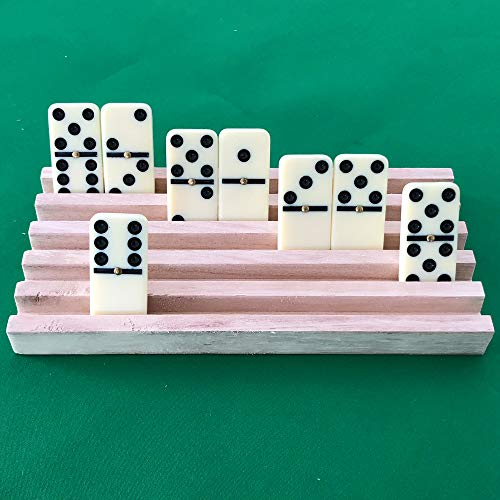 Yuanhe Set of 4 Solid Wood Domino Trays, Domino Tiles Rack, Domino Holder, Mexican Train Trays