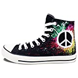 Wen Hand Painted Design Custom Shoes Logo Peace Symbol Unisex Canvas Sneakers