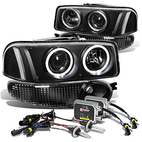 - For GMC Sierra/Yukon Denali Pair of Black Clear Corner Halo Projector Bumper Headlight+8000K HID+Thick Ballasts
