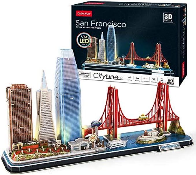 CubicFun 3D Puzzles for Adults Kids LED San Francisco Cityline