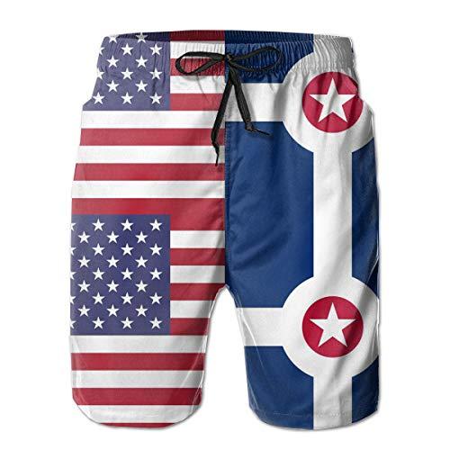 Indianapolis American Half Flag Men's Elastic Waist Swim Trunks with Pocket Drawstring White ()