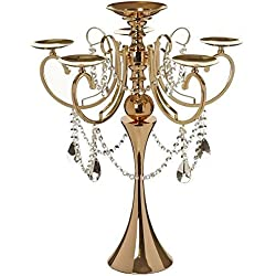 "Efavormart 27.5"" Tall Gold Metal Candelabra Chandelier Votive Candle Holder Wedding Centerpiece - With Acrylic Chains"