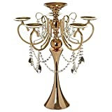 Efavormart 27.5'' Tall Gold Metal Candelabra Chandelier Votive Candle Holder Wedding Centerpiece - With Acrylic Chains