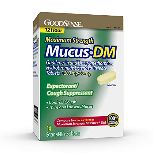 GoodSense Maximum Strength Mucus DM Expectorant and Cough Suppressant, Contains Guaifenesin and Dextromethorphan HBr, 14 Count