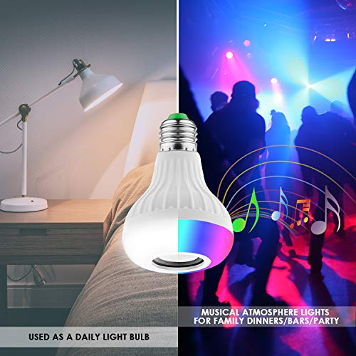 Lampadina Altoparlante, JOLVVN Luce LED Musica 2-In-1 E27 Speaker Notturna Telecomando RGB Audio Mini Stereo Multicolore Bluetooth Compatibile IOS/Android Palcoscenico, Casa, Camera Letto, Festa