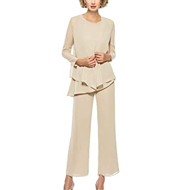 4aedfdbaa9606 Mother of The Bride Pant Suits 3 Piece Outfits Formal Womens Evening Long  Sleeve Chiffon Dressy