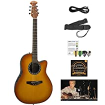 Ovation AB24-HB-KIT-1 Applause Balladeer Acoustic-Electric Cutaway Guitar, Honey Burst