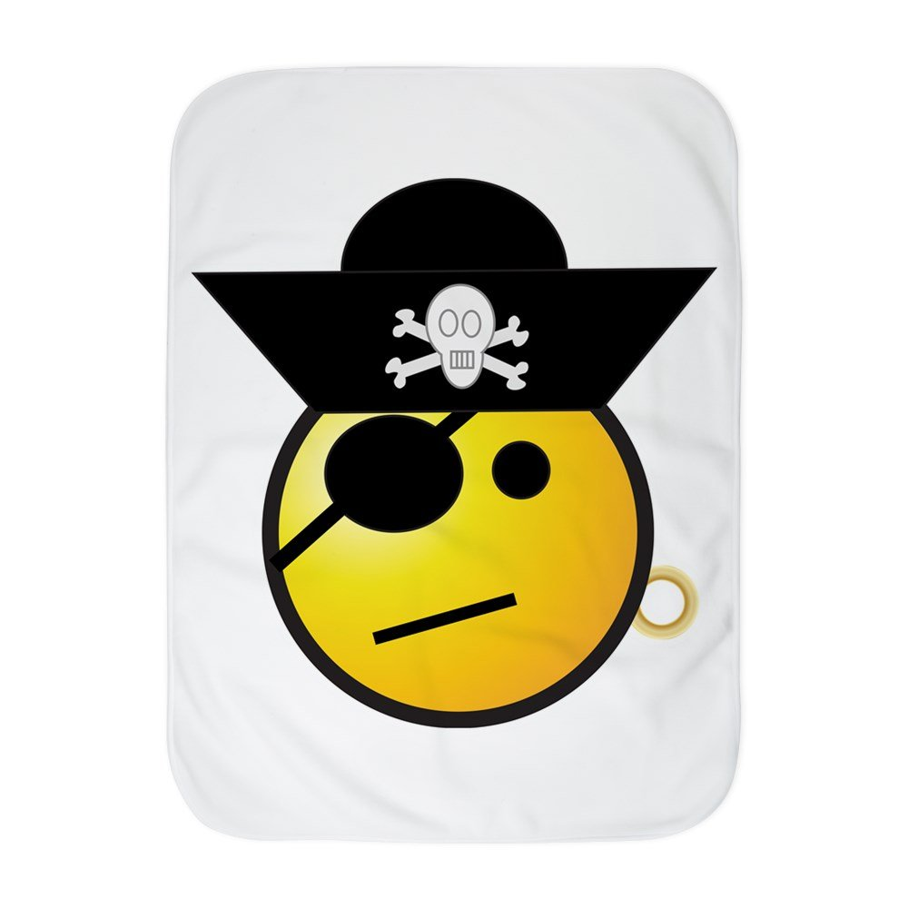Truly Teague Baby Blanket White Smiley Face Pirate