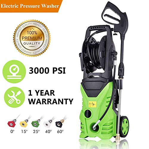 Hurbo Electric High Pressure Washer 3000PSI 1.8GPM Power Pressure Washer Machine with Power Hose Gun Turbo Wand 5 Interchangeable Nozzles (US Stock)