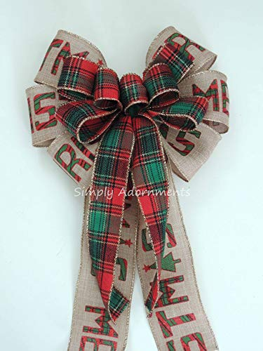 Red Green Cabin Flannel Plaid Christmas wreath Bow Irish Plaid Christmas Bow Country Plaid Christmas Plaid Christmas Swag Bow Holiday Plaid Merry Christmas Bow