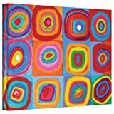 Susi Franco 'Interpretation of Farbstudie Quadrate by Wassily Kandinsky' gallery-wrapped canvas is a vibrant, bold piece of abstract art interpreting Kandinsky's geometric patterns. A great focal point for any home or office. The first third of Susi'...