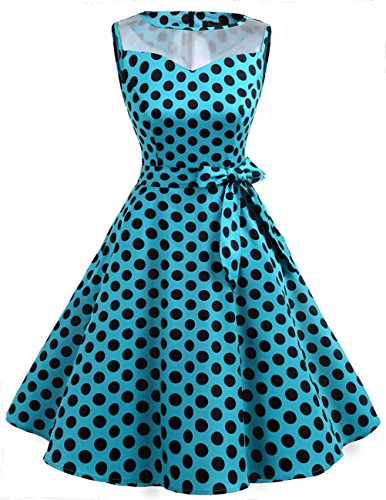Soire col Dresstells 12 sans Rond 0 Annes 1950's Manches Dot Black Cocktail Vintage Rtro Version de 50 Robe Blue S7Srq0nw