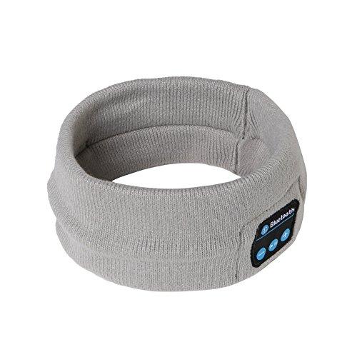 Bluetooth Headband, Ranger5 Wireless Sports Music Headwear Strap Outdoor Speaker and Headset, Light Grey