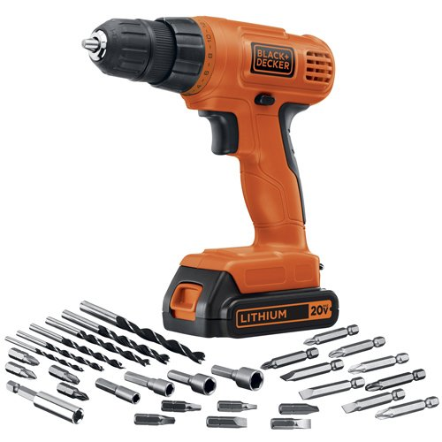 BLACK+DECKER 20V MAX Cordless Drill / Driver with 30-Piece Accessories (LD120VA) (Drill Black 20v Decker And)