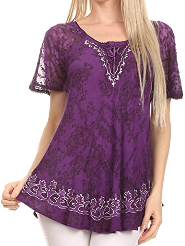 Sakkas 16482 - Ash Speckled Tiedye Embroidered Cap Sleeve Blouse Top With Embroidery Hems - Purple - OSP