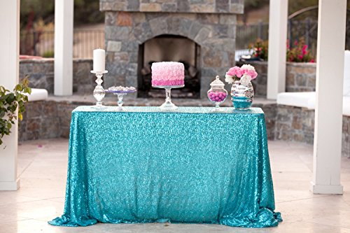 ShinyBeauty 60inx102in Sequin Tablecloth-Rectanglar-Turquoise-for Wedding/Christmas/Black Friday Party Linen (Turquoise And Silver Party Decorations)