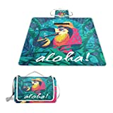 Fengye Funny Hawaiian Bird Outdoor Handy Picnic Blanket Mat Cover Waterproof Grass Carpets Foldable Tote bag Camping Hiking Beach