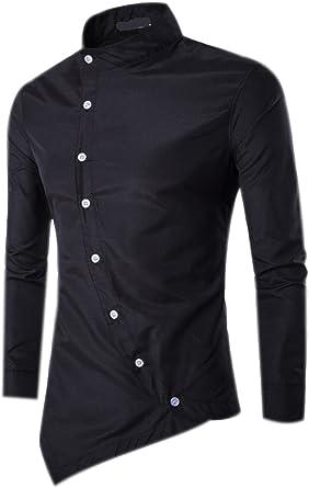 Camisas Hombre Slim Fit Shirt Manga Larga Moda Irregulares Camisa Casual Cuello Vestir Shirts Blusa Color Puro Tops Camiseta
