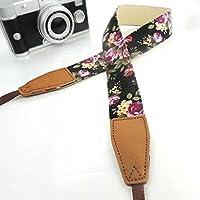 Eorefo Camera Strap Leather Vintage Universal Shoulder Neck Belt Strap for All DSLR Camera Nikon Canon Sony Olympus Samsung Pentax Fujifilm,Flower Black.