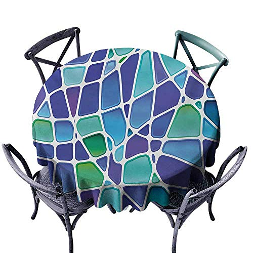 Polyester Tablecloth Fractal Ceramic Mosaic Style Forms Trippy Abstract Vivid Figures Display Purple Jade Green Royal Blue Picnic D55