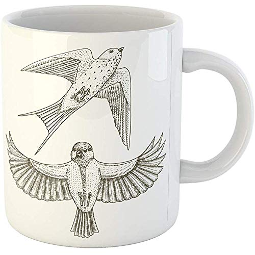 Funny Gift Personalized Coffee Mug Small Birds of Barn Swallow Martlet and Parus Titmouse Great Tit in Europe 11 Oz Ceramic Coffee Mug Tea Cup - Birds Barn Swallows