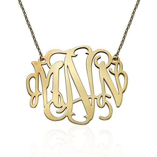 18k Gold Plated Personalized XXL Statement Monogram Necklace- 2 Inches (Monogrammed Pendant Necklace)