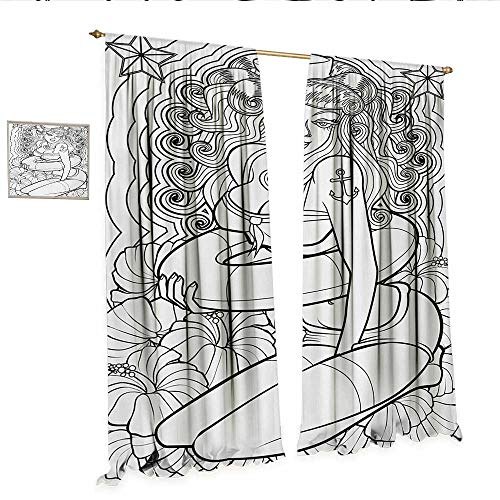 Nautical Patterned Drape for Glass Door Tattoo Coloring Book Style Sexy Pin Up Girl with Hibiscus Flowers Curls and Stars Window Curtain Fabric W96 x L108 Black White.jpg